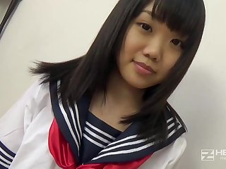 Asian honey, Natsuno Himawari is wearing her college uniform while obtaining smashed coupled with fellating prick