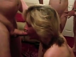 Dirty British wife sucks husbands friends