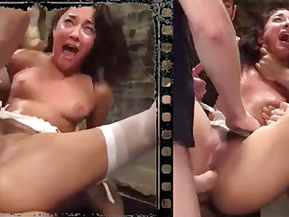 Messy stunner plowed xxx with five immense penises!