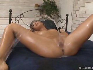 Oiled up Japanese blonde babe Aika gang banged coupled with cum covered
