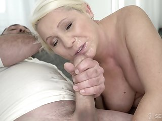 Mature blonde MILF Bibi Pink gets covered give cum after a hardcore fuck