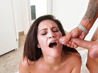 Big cock plows a hottie with the addition of gives her a out of place facial