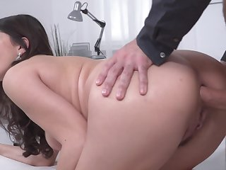 Round ass Italian slut anally fucked from behind