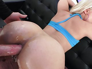 Blonde slut gives blowjob with the addition of gets analyzed anent a crooked way